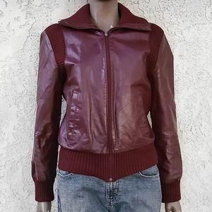 Vintage 80s Unisex Maroon Leather Jacket